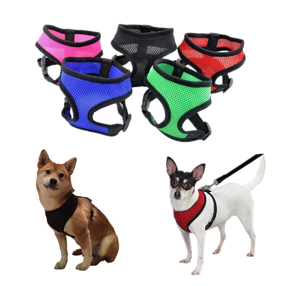 1PC Adjustable Soft Breathable Dog Harness Nylon Mesh Vest Harness for Dogs Puppy Collar Cat Pet Dog Chest Strap Leash - 88digital