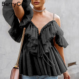 Women blouse Vintage ruffle summer blouses shirt tops Off shoulder sexy