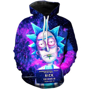 Harajuku Style Hoodies Pullover INTEROIWENSIONAL SPACC POLICE Rick and Morty 08128618 Mad Scientist Digital Print Sweatshirt