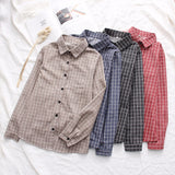 EYM 2019 Autumn New Women's Plaid Shirt Brand Cotton Casual Women Long Sleeve Blouses Tops Feminina Office Ladies Blouse Blusas - 88digital