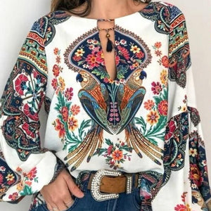 S-5XL Women  Bohemian Clothing Plus Size Blouse Shirt Vintage Floral Print Tops Ladies s Blouses Casual Blusa Feminina Plus size - 88digital