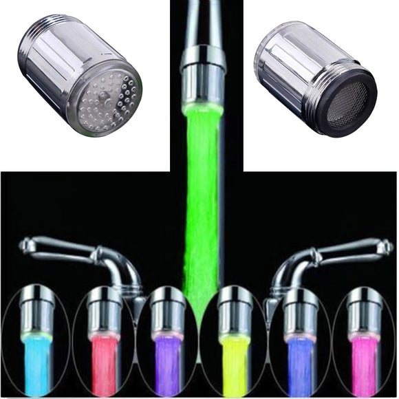 Luminous Light-up LED Water Faucet Shower Tap Basin Water Nozzle Bathroom Kitchen Heater Faucets thermostat Blue 3Color 7 Colors