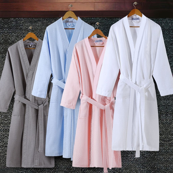 Lovers Summer Suck Water Kimono Bath Robe Men Plus Size Sexy Waffle Bathrobe Mens Dressing Gown Male Lounge Robes - 88digital