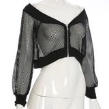 Rosetic Gothic Sexy Short Women Blouse Black Mesh See-Through Slash Neck Hollow Off Shoulder Long Sleeve Club Street Goth Blouse - 88digital