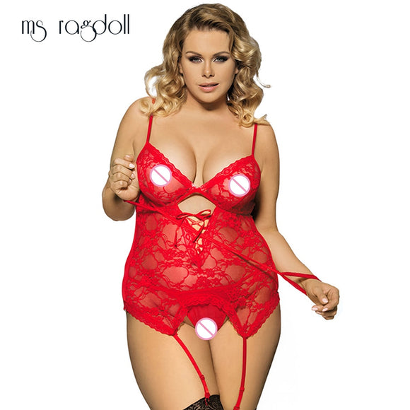 ms ragdoll Sexy Lingerie 6XL Plus Size Underwear Handcuffs G-string Erotic SM Cosplay Costume Sexy Nightclubs Lace Clothes Dress