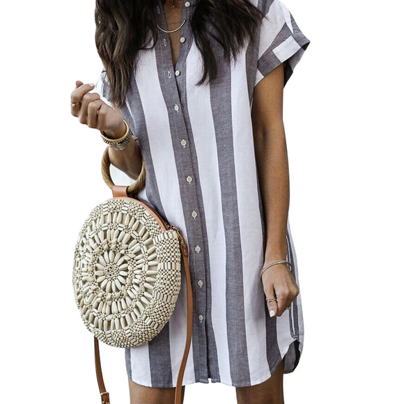 DeRuiLaDy 2019 New Women Summer Shirt Dress Loose Short Sleeve Button Striped Short Dresses Ladies Casual Mini Dress Vestidos