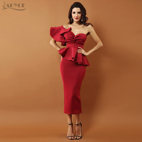 Sexy Bodycon Sets One Shoulder Ruffles Short Sleeve Strapless Club Dress - 88digital