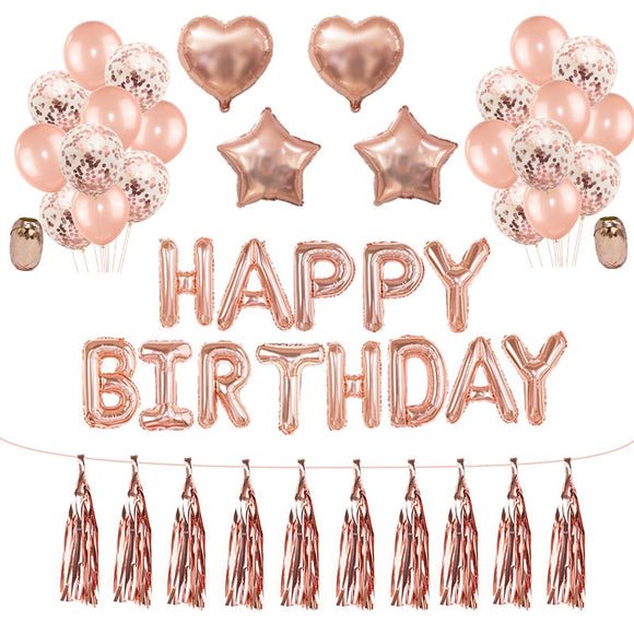 Rose Gold Wedding Birthday Party Balloons Happy Birthday Letter Foil Balloon Baby Shower Anniversary Event Party Decor Supplies - 88digital