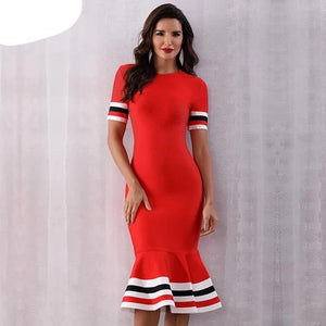 Red Bandage Dress Women Sexy Short Sleeve Mermaid Club Dress Runway Celebrity Evening Party Dress - 88digital