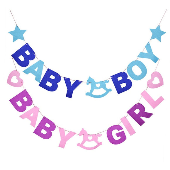 Baby Shower Decoration Non-Woven Fabric Letter Banner Party Garland Baby Boy Girl Foil Balloon 1st Birthday Event Party Supplies