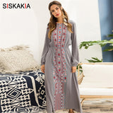 Women long Dress Autumn Fashion Ethnic Printing Maxi Dresses long sleeve