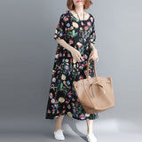 Summer Fashion Plus Size Dress 4xl 5xl 6xl 7xl 8xl Women Floral Printed Big Swing Dress Size Loose Long Dresses - 88digital