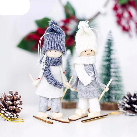 Cute Angel Doll Girl Ski Pendant Christmas Tree Decorations for Home Wooden Christmas Tree Ornaments Xmas Gift for Kids