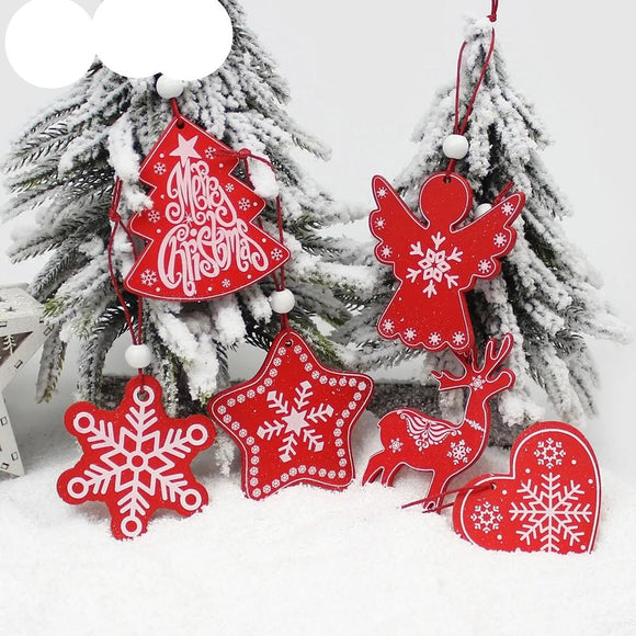 6Pcs Creative Printing Wooden Christmas Pendants Ornaments for Xmas Tree Hanging Ornament Party Christmas Decoration - 88digital
