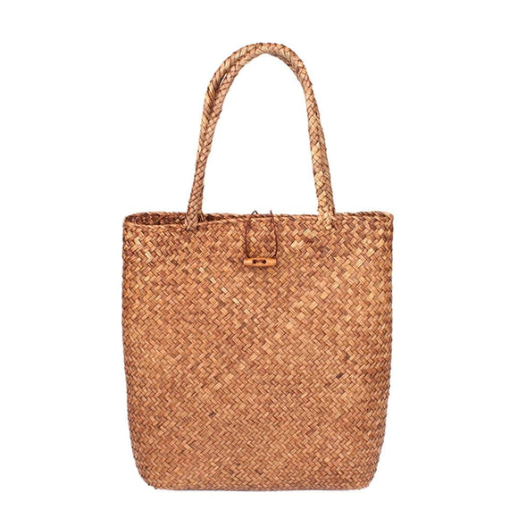 Hand Woven Large Rattan Straw Bag Flower Basket Storage Tote Female Bags Travel Handbag Shopping Braided Hand Bag For Women Girl - 88digital