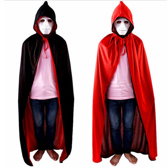Adult Men Halloween Devil Death Vampire Costume Long Red Black Hoodie Cloak Dress-up Outfit Wicca Pirate Joker Cape For Women