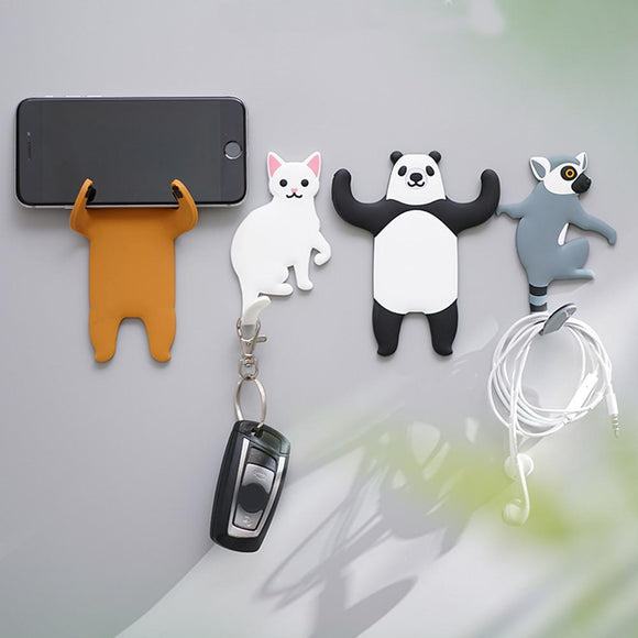 Hot Sale 3PC/PAIR Cute Animals Wall Hooks Decorative Bear Dog Cat Raccoon Hook Hanger Accessory For Keys Sundries