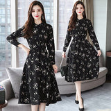 Floral Chiffon Midi Dress Plus Size Boho Dresses Party Long Sleeve Dress