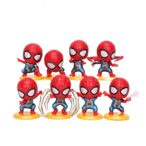 3-4cm 8pcs/set Marvel Toys Avengers Figure Set Q Version Spiderman PVC Action Figure Peter Parker Spider-Man Doll Toy Party Favo
