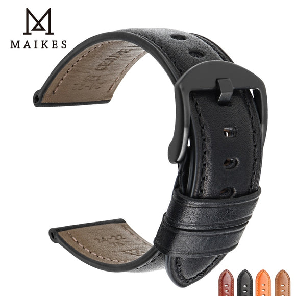 MAIKES Genuine Leather Watch Strap 20mm 22mm 24mm Men Watchband Cow Leather Watch band For MIDO Casio SEIKO TISSOT