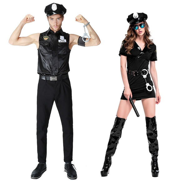 Sexy Police Uniform Couples Black Cop Halloween Costumes For Women Men Game Stage Bar Police Costume Cosplay attack on titan - 88digital