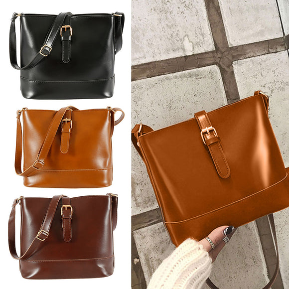 2019 Fashion Women Bucket Bag Vintage Messenger Bag High Quality Retro Shoulder Bag Simple Crossbody Bag Tote Ladies PU Handbag