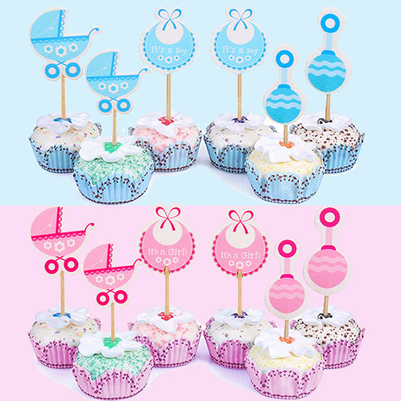 18Pcs Paper Cupcake Toppers Baby Shower Decorations Its a Girl Boy Party Supplies Babyshower Gender Reveal - 88digital