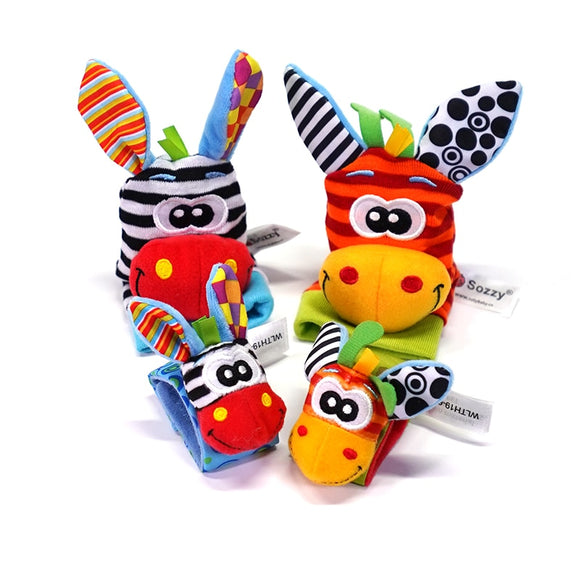Sozzy hot Baby toy socks Baby Toys Gift Plush Garden Bug Wrist Rattle 4 Styles Educational Toys cute bright color