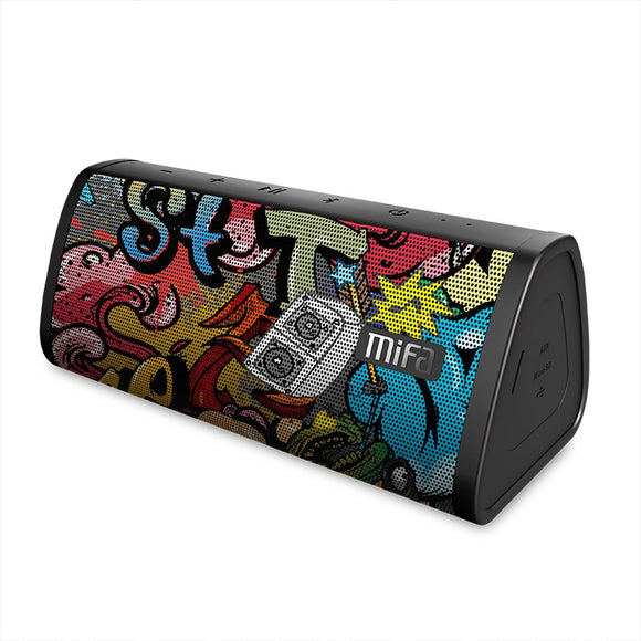 Black-Graffiti Bluetooth Speaker Waterproof Bluetooth 4.2 Wireless Speaker Micro SD Built-in Mic Stereo Sound