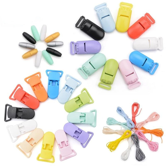 Baby Teethers Pacifier Clip Chain Accessories Colorful Nylon Cord Plastic Breakaway Clasps For Teething Necklace Making Safe