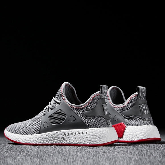 Fashion Men Shoes Casual Weaving Fly Mesh Breathable Light Soft Black Slipon Mens Shoe Male Trainers Sneakers Human Race - 88digital