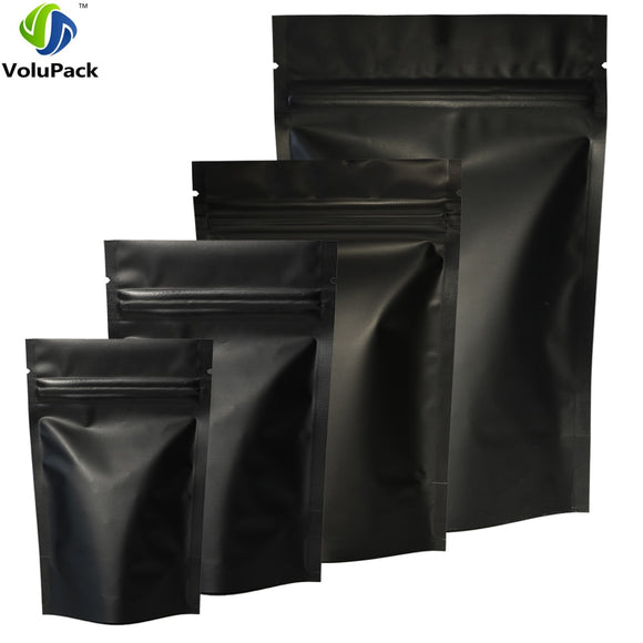 High Quality 100pcs Heat Seal Zip Lock Package Bags Aluminum Foil Mylar Tear Notch Matte Black Stand Up Bag USA - 88digital