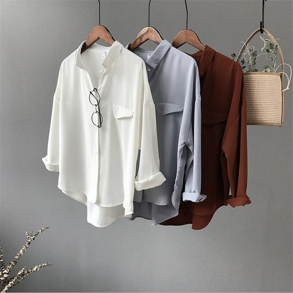 High quality Casual Chiffon white Women blouse shirt oversized Three Quarter sleeve loose shirt office wear casua tops blusas - 88digital