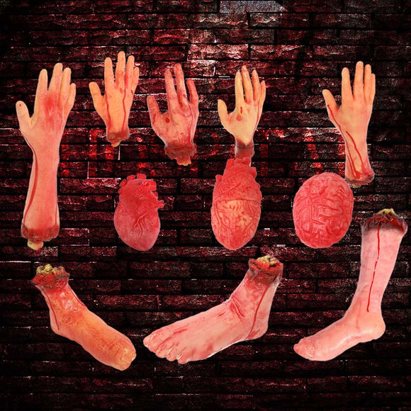 Horror Halloween Props Bloody Hand Haunted Party Decoration Fake Hand Finger Leg Foot Heart Halloween House Decoration Supplies - 88digital
