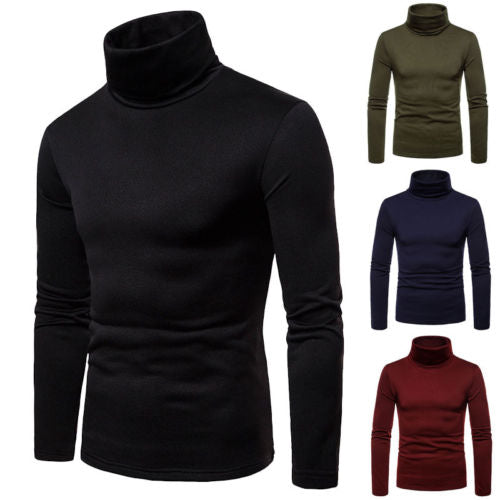 Hot Fashion Mens Sweater Solid Roll Turtle Neck Pullover Knitted Jumper Winter Male Fashion Casual Tops - 88digital
