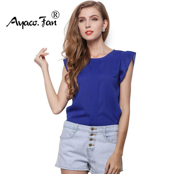 Hot Women Chiffon Blouses Summer Shirts O-neck Ruffled Pleated Sleeve Strap Solid Tops Blouses Casual Ladies Solid Shirt Blusas - 88digital