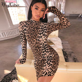 Hugcitar long sleeve high neck leopard print sexy bodycon mini dress 2019 autumn winter women fashion Christmas party clothes - 88digital