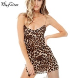 Hugcitar slit mesh see through leopard print spaghetti straps sexy mini slip dress2019 summer women Christmas party clothes - 88digital