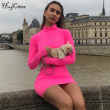 Hugcitar solid long sleeve high neck zipper high waist bodycon sexy stretchy dresses 2018 autumn winter women fashion casual set - 88digital