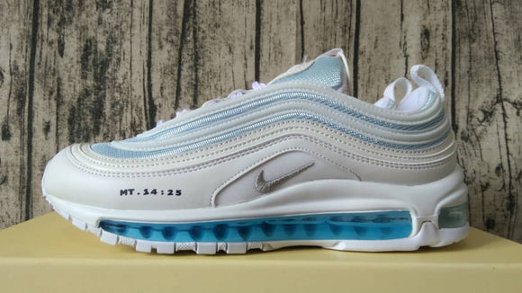 Nike AIR MAX 97 MSCHF X INRI Jesus Holy Water White Grey Red Men Shoes Sneakers 921826-101