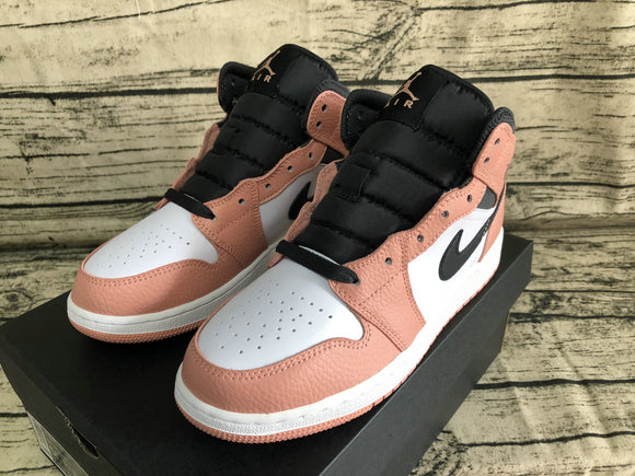 Nike Air Jordan 1 MID Pink Quartz dark Smoke Grey White Women Shoes Sneakers Size 36-40 / 5.5-8.5 555112-603