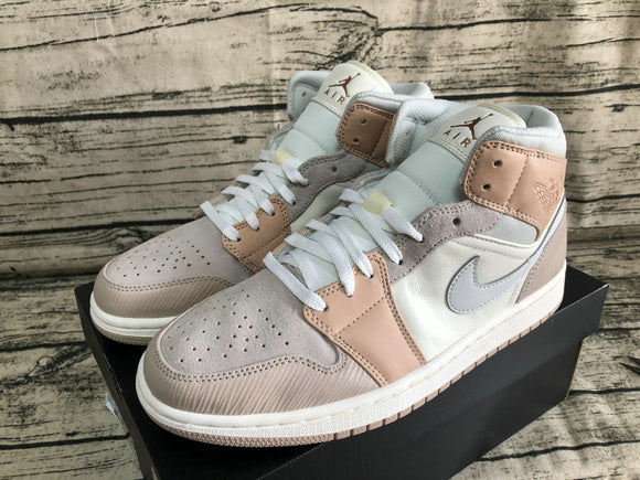 Nike Air JORDAN 1 MID Milan Light Bone String Shimmer LT Khaki Beige Grey light khaki light gray milky white Men Women Shoes Sneakers CV3044-100