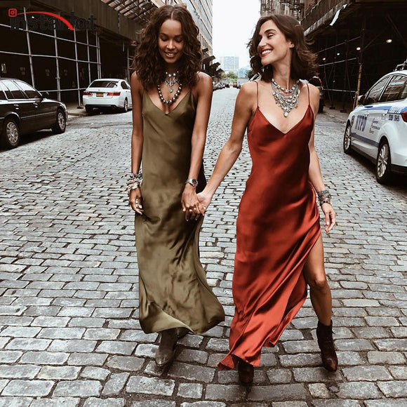 InstaHot Sexy Satin V Neck Maxi Dress Women Spaghetti Strap Sleeveless Backless Side Split Long Dresses 2019 Spring Lady Vestido - 88digital