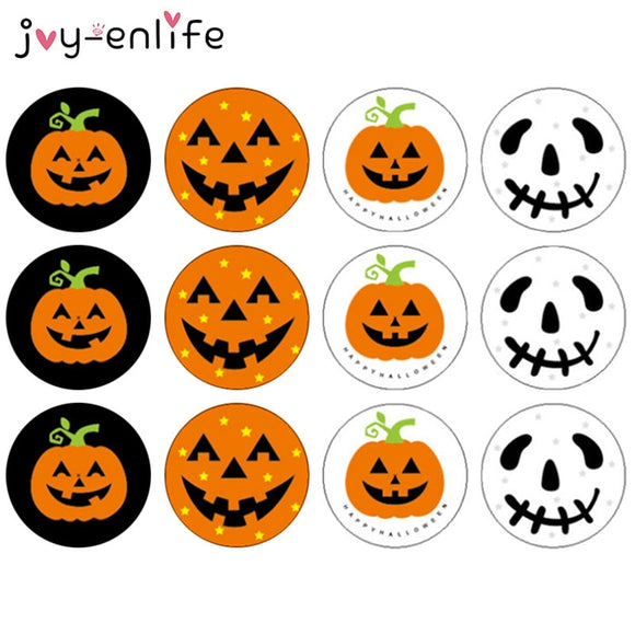 120pcs 3CM Halloween Pumpkin Ghost Round Handmade Cake Packaging Sealing Label Kraft Sticker Baking DIY Gift Stickers - 88digital
