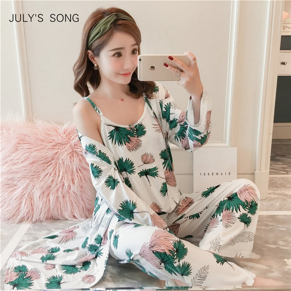 Woman Pajamas Set Sling Cotton Pajamas 3 Peices Sleepwear For Women Long Sleeves Breathable Sexy Robe Homewear - 88digital