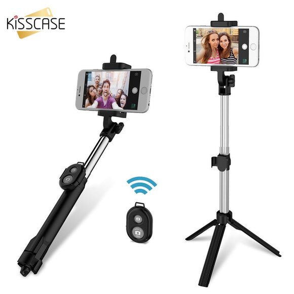 KISSCASE 3 in 1 Bluetooth Mini Selfie Stick for Xiaomi Selfie stick tripod for iPhone X XS 7 8 Remote Controller Xiaomi Android - 88digital