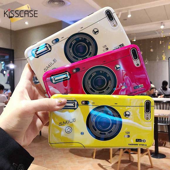 KISSCASE Bright Camera Patterned Case For iPhone 7 8 6 6S PLUS IMD Colorful Phone Case for iPhone X XS MAX XR Vintage Cover Capa - 88digital