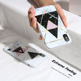KISSCASE Marble Phone Case For iPhone 7 6 6s Plus 3D Relief Triangle Silicone Case For iPhone X 8 Plus XS Max XR 5s Se 5 7 Cover - 88digital