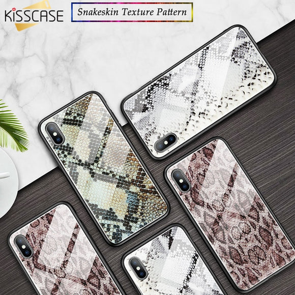 KISSCASE Python Pattern Phone Case For iPhone X XS Max XR 6 7 8 Tempered Glass Case For iPhone 6 6S 7 8 Plus X Mirror Glass Case - 88digital