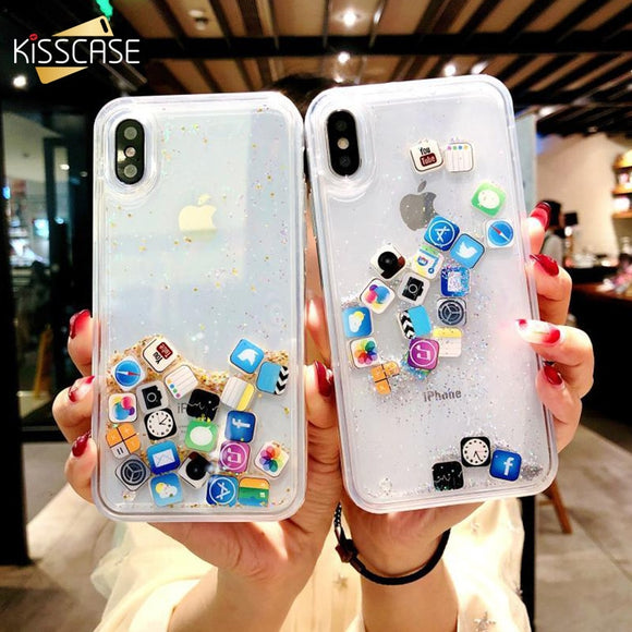 KISSCASE Quicksand Hard PC Clear Case For iPhone X XS MAX XR Dynamic Liquid Case for iPhone 11 Pro Max 7 8 6 plus 11Pro 11 Capa - 88digital